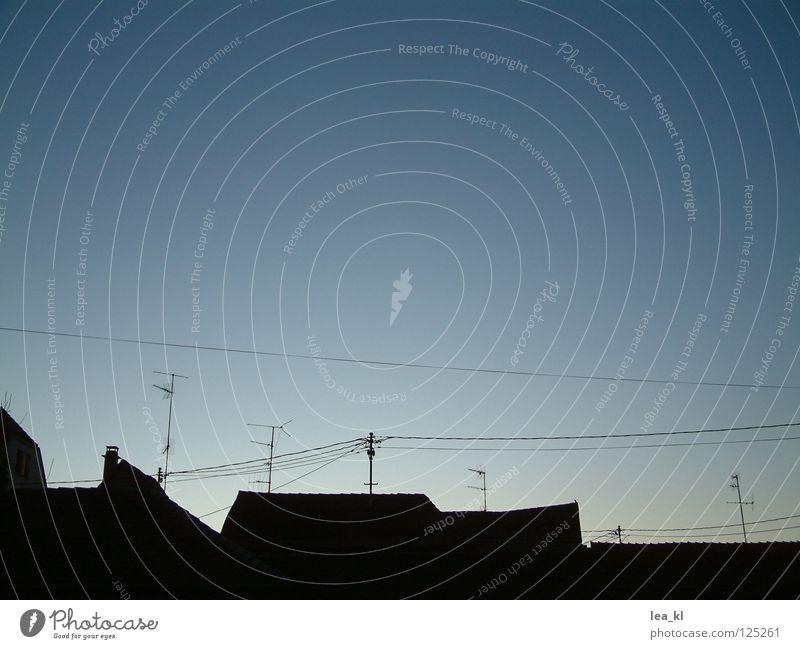 Kleinstadtskyline Himmel Kommunizieren Kabel Dach Skyline Draht Abenddämmerung Antenne Alba Iulia