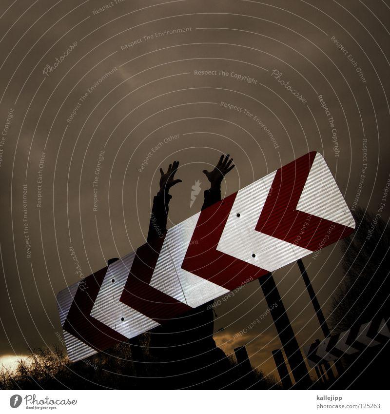 pannenhilfe Mensch Himmel Hand Freude schwarz gelb Wege & Pfade Lampe Kunst Arme Schilder & Markierungen Erfolg Suche Streifen Hinweisschild Ziel