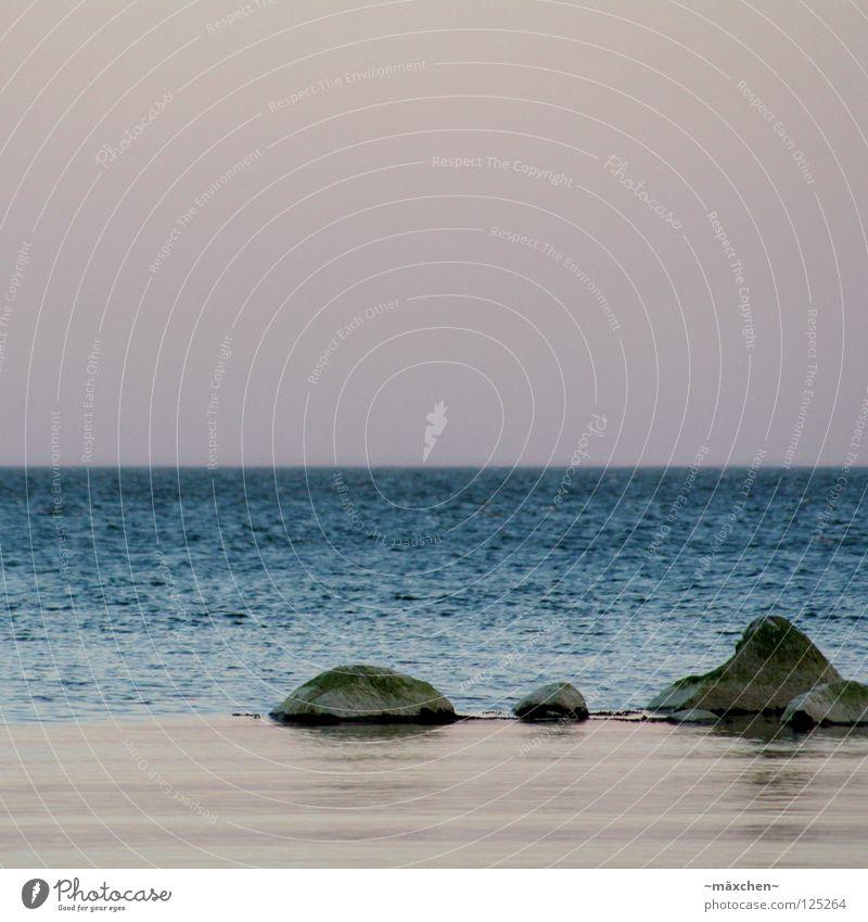 silence ruhig Stillleben Horizont Wellen Ferne Sonnenuntergang rot Erholung Ferien & Urlaub & Reisen faulenzen genießen Deutschland Wasser Schifffahrt quite