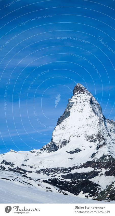 Gipfelmütze 2 Himmel Natur Ferien & Urlaub & Reisen blau weiß Landschaft Berge u. Gebirge Umwelt Frühling Schnee Freiheit außergewöhnlich Felsen Tourismus leuchten hoch