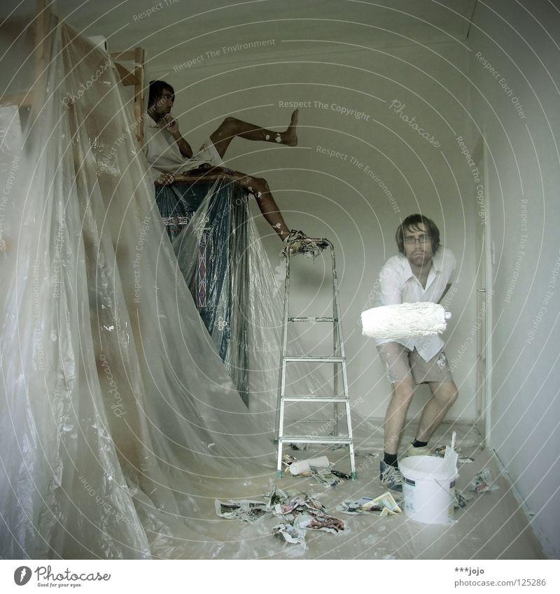 ich weiß. Mann weiß Freude Farbe Erholung Wand Mauer Arbeiter Arbeit & Erwerbstätigkeit Raum Wohnung neu Pause Baustelle streichen Umzug (Wohnungswechsel)