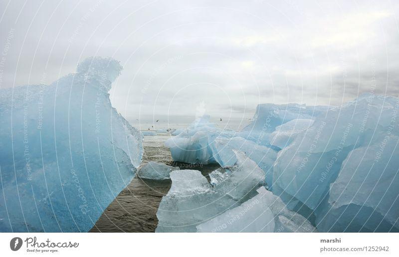 Eiswelten Natur Landschaft Frost Felsen Gletscher Vulkan Küste Bucht Meer Insel Gefühle Stimmung Eisberg Jökulsárlón Island Ferne kalt Macht Eisscholle blau