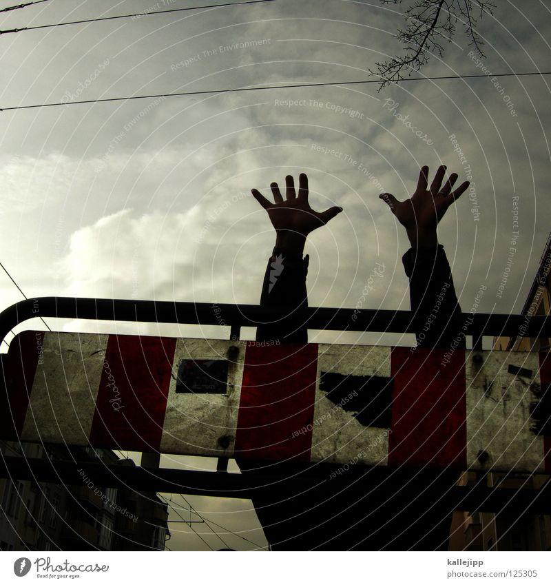 here comes the rain again Mensch Himmel Hand Freude schwarz gelb Wege & Pfade Lampe Kunst Arme Schilder & Markierungen Erfolg Suche Streifen Hinweisschild Ziel