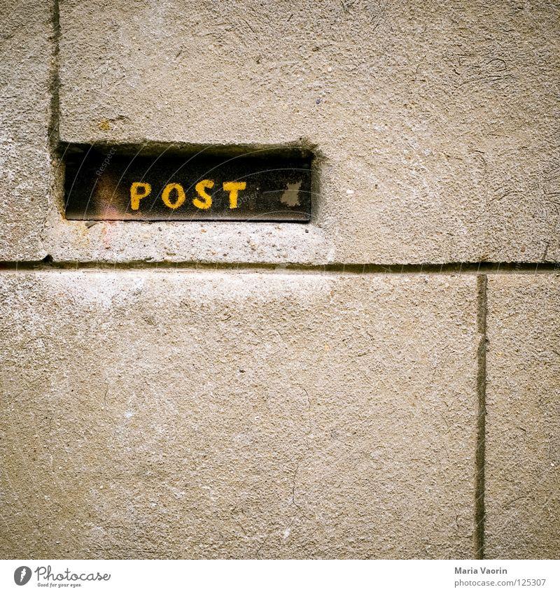 Bitte keine Werbung einwerfen! Post Briefkasten E-Mail Postfach Zeitung Wand Mauer Putz Postbote Dienstleistungsgewerbe Zeitschrift Buchstaben Schriftzeichen