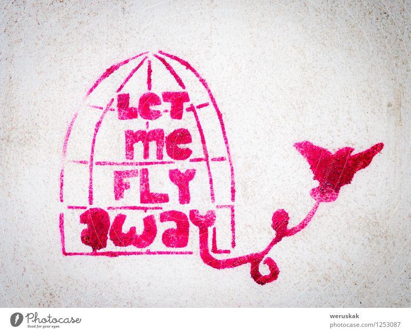 Rosa Schablonengraffiti mit dem Vogel, der einen Käfig verlässt Handarbeit Freiheit Kunst Kunstwerk Kultur Graffiti Straße Beton dreckig rosa weiß Hemmung