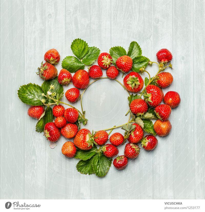Erdbeeren Kranz Natur Sommer Blatt Gesunde Ernährung Leben Blüte Stil Hintergrundbild Garten Lebensmittel Design Frucht Ernährung Tisch rund Symbole & Metaphern