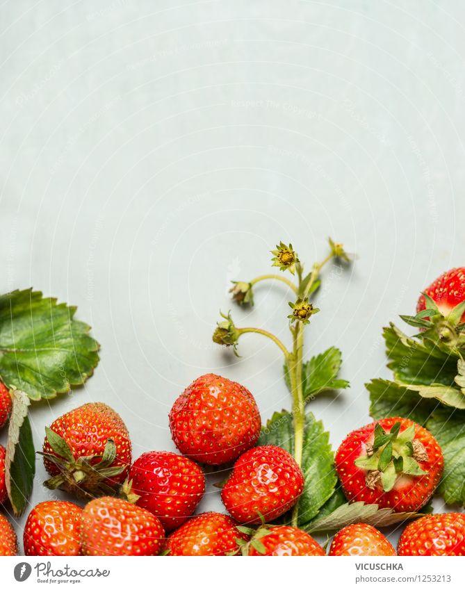 Reife Erdbeeren mit grünen Blättern und Blüten Natur Pflanze Sommer Gesunde Ernährung Leben Stil Garten Lebensmittel Design Frucht Textfreiraum frisch Tisch