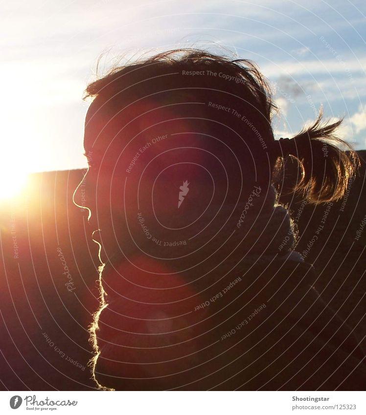 shine Frau Sonne Gesicht Wärme Beleuchtung glänzend Physik genießen