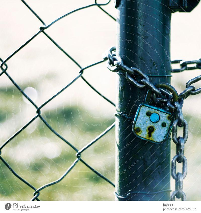 Kein Durchkommen grün blau Wiese geschlossen Zaun Kette gefangen Schlüssel Schloss Durchgang Maschendrahtzaun Vorhängeschloss