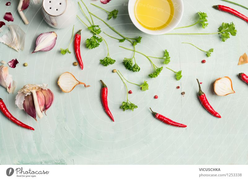 Rote Chili, Öl und Gewürze Lebensmittel Kräuter & Gewürze Ernährung Bioprodukte Vegetarische Ernährung Diät Schalen & Schüsseln Stil Design Gesunde Ernährung
