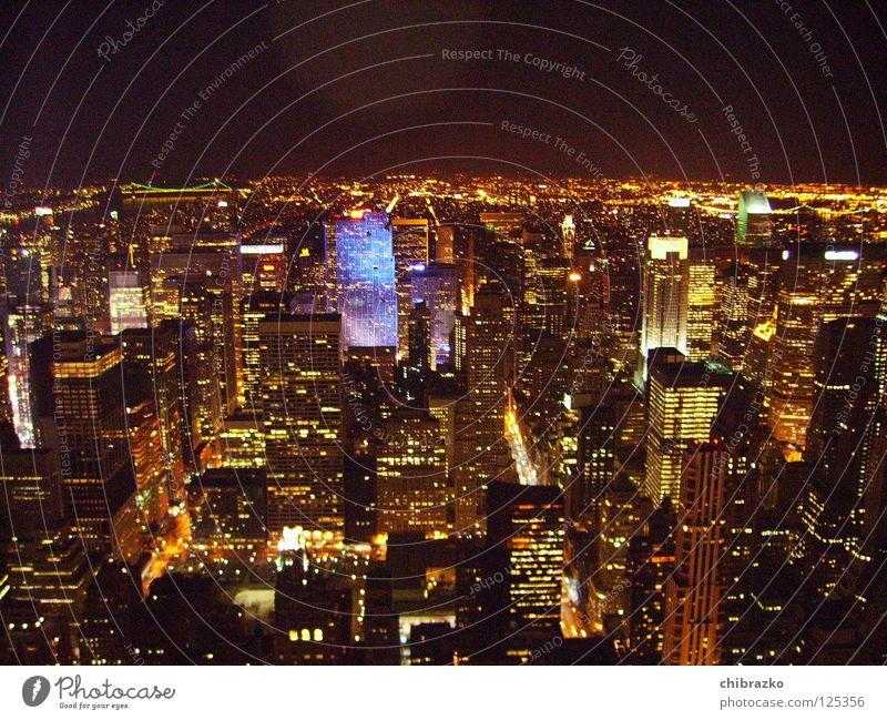 new york at night Straße Architektur Hochhaus Nacht Gebäude New York City Empire State Building