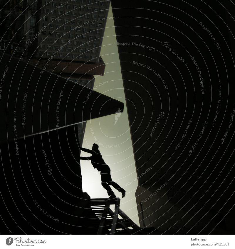 on the edge of life Mensch Himmel Mann Hand Stadt Haus Fenster Berge u. Gebirge Gefühle Architektur springen See Lampe Luft Linie Tanzen