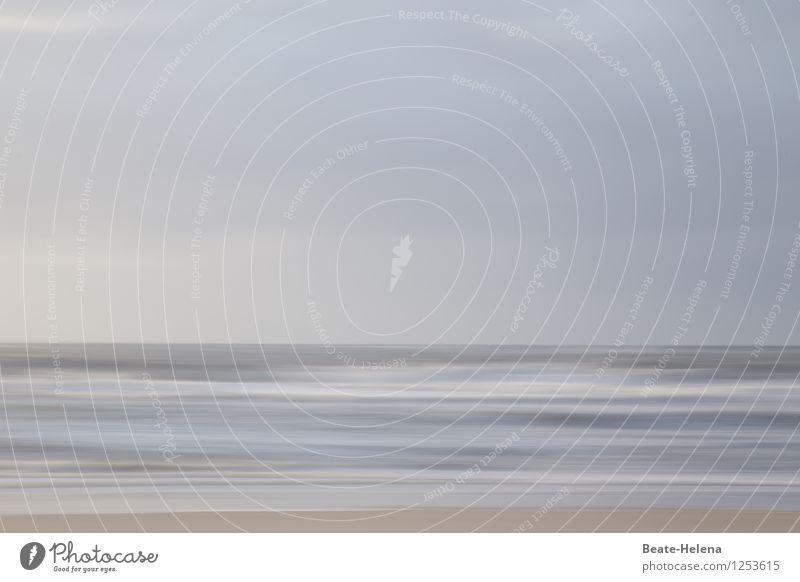 In der Ruhe liegt die Kraft Natur Landschaft Himmel Wolken Sommer Strand Nordsee Wasser ästhetisch außergewöhnlich modern natürlich blau grau Bewegung
