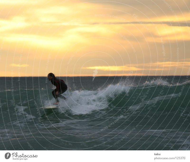 SUNRISE SURF II Neuseeland Südinsel Surfer Surfbrett springen Wassersport p.b waves breaking sea exciting Coolness fun watching sunrise early in the morning