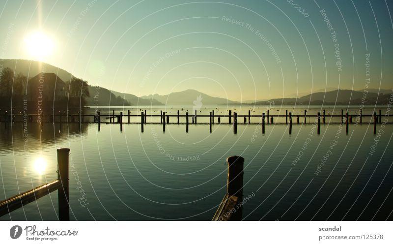sea lake Wasser schön Himmel Baum Sonne blau Sommer Freude Winter Ferien & Urlaub & Reisen Berge u. Gebirge Frühling See Landschaft Wasserfahrzeug Erde