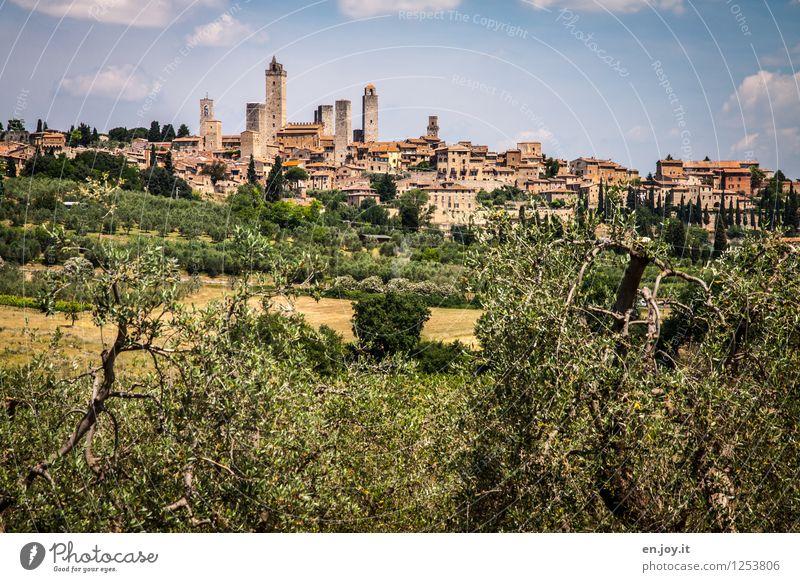 mittelalterlich Himmel Ferien & Urlaub & Reisen Sommer Landschaft Haus Umwelt Tourismus Idylle Ausflug Italien Turm Hügel historisch Dorf Skyline