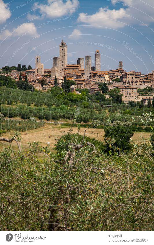 Urlaub Himmel Natur Ferien & Urlaub & Reisen Stadt Sommer Landschaft Haus Umwelt Tourismus Ausflug Italien Schönes Wetter Turm historisch Dorf Skyline