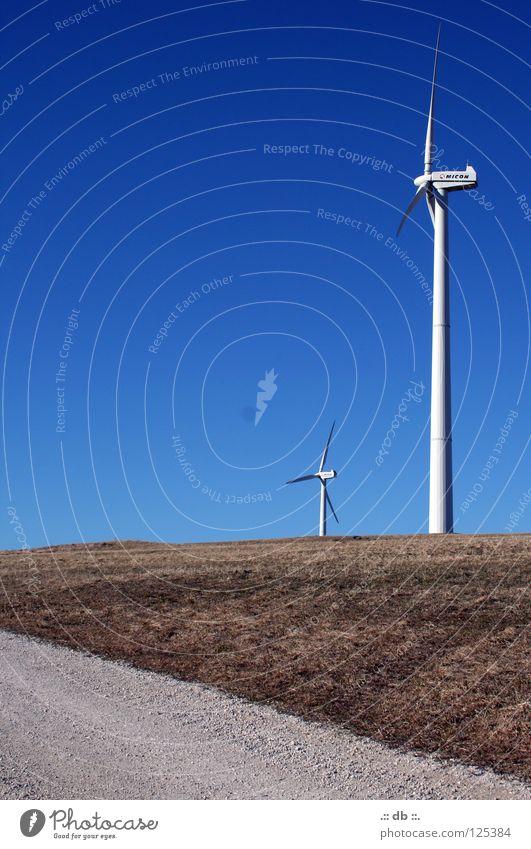 .:: Windrad II ::. blau Sommer Winter Herbst Wege & Pfade Kraft Feld Windkraftanlage