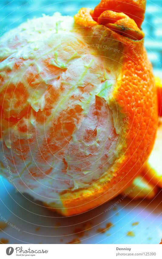 Halb geschält ist halb gegessen Orange Gesundheit Frucht frisch Teile u. Stücke Teller Vitamin Schalen & Schüsseln häuten
