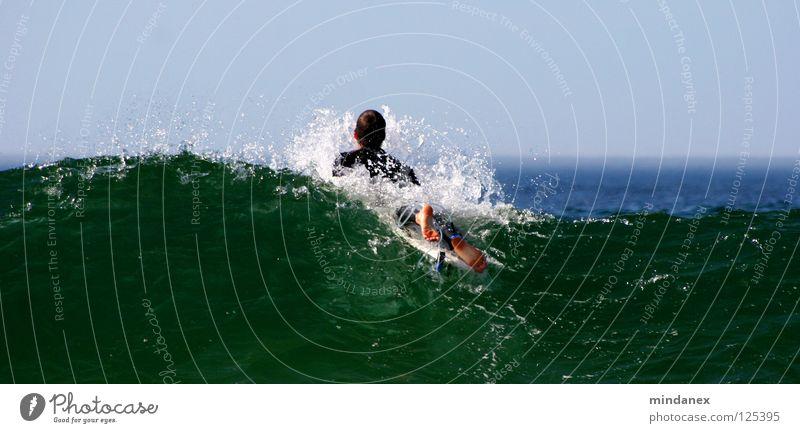 Wellenbrecher Surfen Surfer Meer grün Wassersport blau