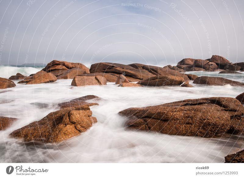 Atlantikküste in der Bretagne Natur Ferien & Urlaub & Reisen Erholung Landschaft Wolken Küste Stein Felsen Tourismus Sehenswürdigkeit Frankreich Atlantik Granit Attraktion Bretagne Geologie