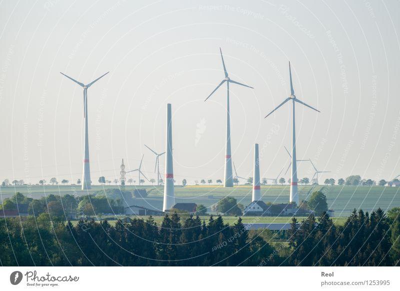 Windräder Natur Landschaft Wald Umwelt Energiewirtschaft Feld Technik & Technologie Zukunft Elektrizität Wandel & Veränderung Baustelle Landwirtschaft Bauernhof