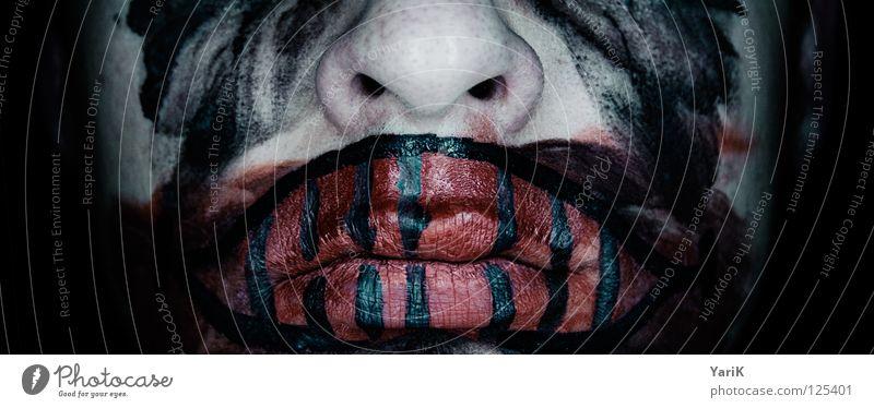 psycho clown I blau grün rot schwarz Gesicht dunkel grau lachen Traurigkeit Angst Mund Nase Trauer Bad Filmindustrie Maske