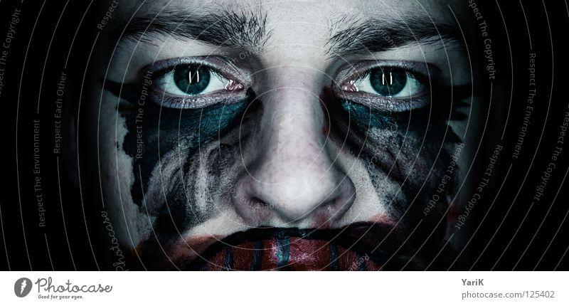 psycho clown II dunkel gruselig Bad böse flau Gesichtsbemalung Schminken geschminkt rot grau schwarz zyan grün mehrfarbig Trauer Angst hässlich Zirkus Bösewicht