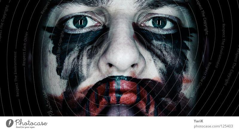psycho clown III blau grün rot schwarz Gesicht Auge dunkel grau lachen Traurigkeit Angst Mund Nase Trauer Bad Filmindustrie