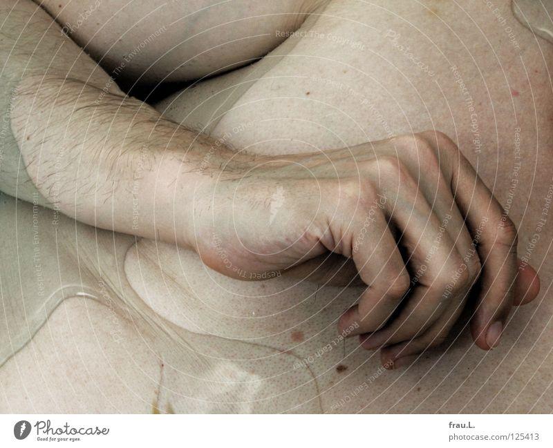 buntes Baden Hand Mann nackt Badewanne Wasser Brust Bauch Luftblase Haare & Frisuren Achsel Achselhaare Erholung ruhig Schwimmen & Baden Haut 50 plus Wellness