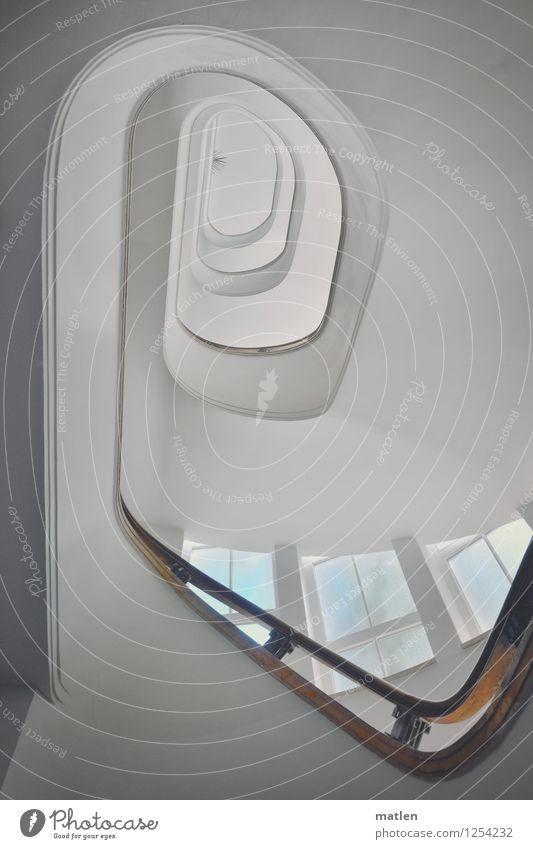 Heimkommen Menschenleer Haus Architektur Mauer Wand Treppe braun türkis weiß Treppenhaus harmonisch Treppengeländer Farbfoto Gedeckte Farben Innenaufnahme Tag