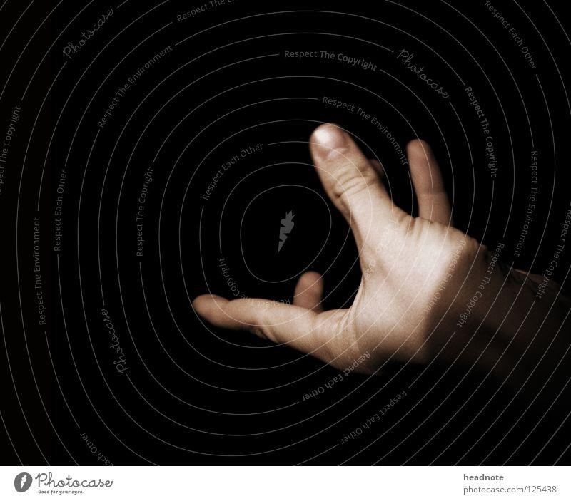 Please? Hand schwarz dunkel Finger Kommunizieren fangen Griff Daumen zeigen gestikulieren