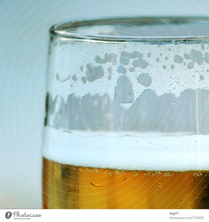 Prost! Ein Bier zum Samstagabend! Glas trinken Alkohol Schaum Anschnitt Bildausschnitt Bierglas Durstlöscher Bierschaum