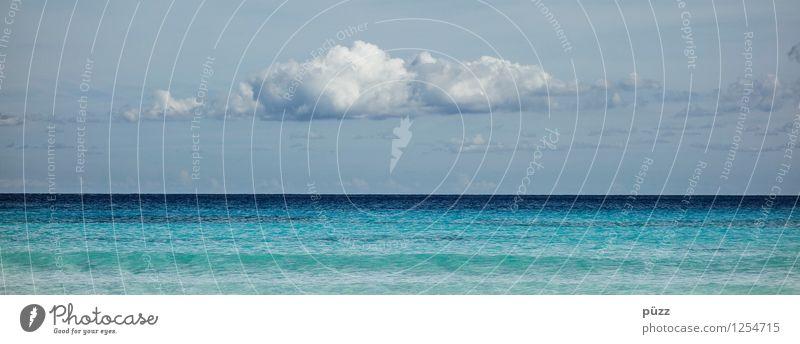 Horizont Wohlgefühl Zufriedenheit Sinnesorgane Erholung ruhig Schwimmen & Baden Ferien & Urlaub & Reisen Ferne Freiheit Sommer Sommerurlaub Strand Meer Wellen