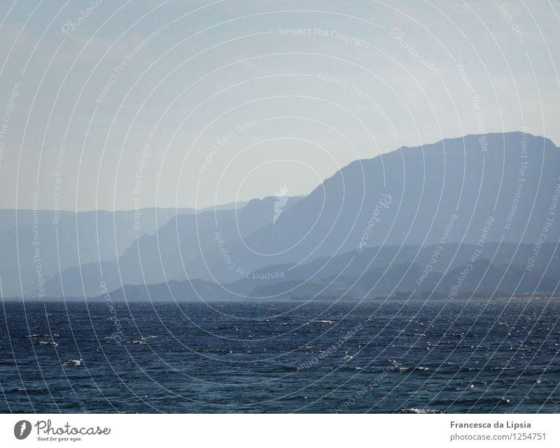 Blue Mountains Landschaft Wasser Himmel Horizont Berge u. Gebirge Sinai-Halbinsel Küste Bucht Meer Wüste leuchten einfach Ferne Unendlichkeit blau ruhig träumen