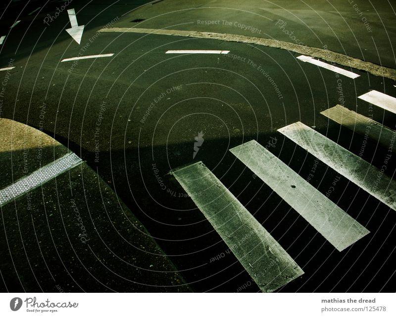 Bodenmarkierung Asphalt Beton hart kalt schwarz Teer Streifen Zebra Zebrastreifen weiß Halt stoppen Sonnenlicht Ghetto Verkehr Verkehrswege Straßennamenschild