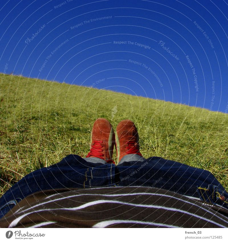 Faul-in-der-Sonne-liegen Perspektive Himmel zyan strahlend Schuhe Hose Gras Wiese T-Shirt rot weiß Streifen gestreift Erholung genießen grün saftig Frühling