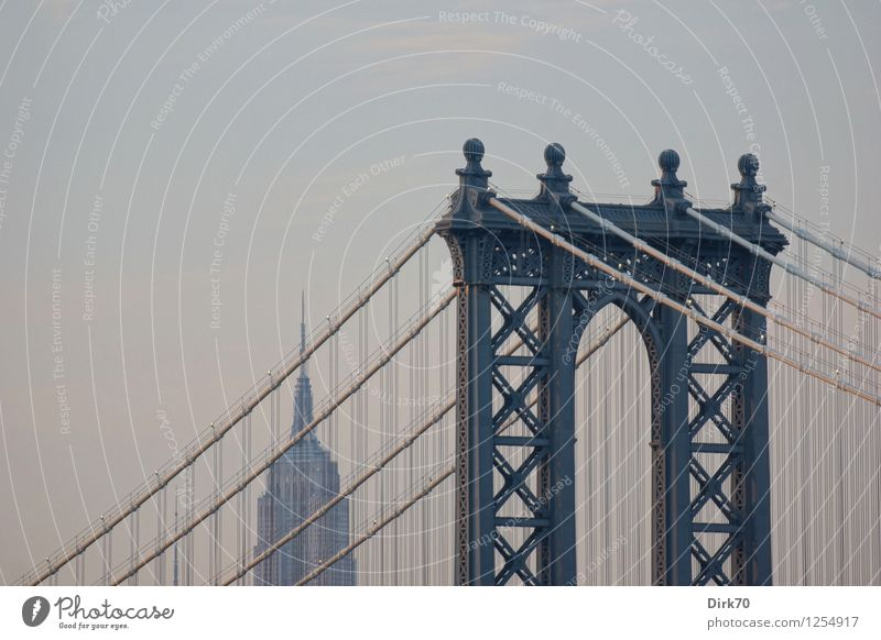 Manhattan Bridge en Detail Ferien & Urlaub & Reisen Tourismus Ferne Sightseeing Städtereise Himmel Wolken Sonnenlicht Sommer Schönes Wetter New York City USA