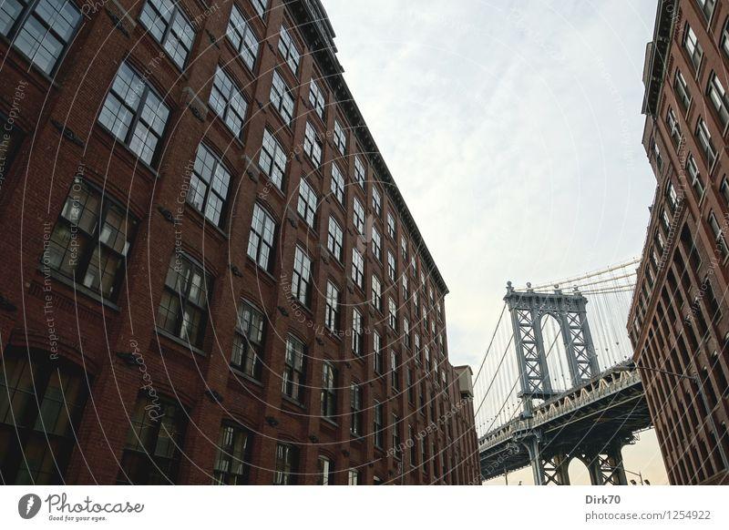 Es war einmal in Amerika ... Stil Tourismus Freiheit Sightseeing Städtereise Schönes Wetter New York City Brooklyn USA Hafenstadt Haus Brücke Hängebrücke