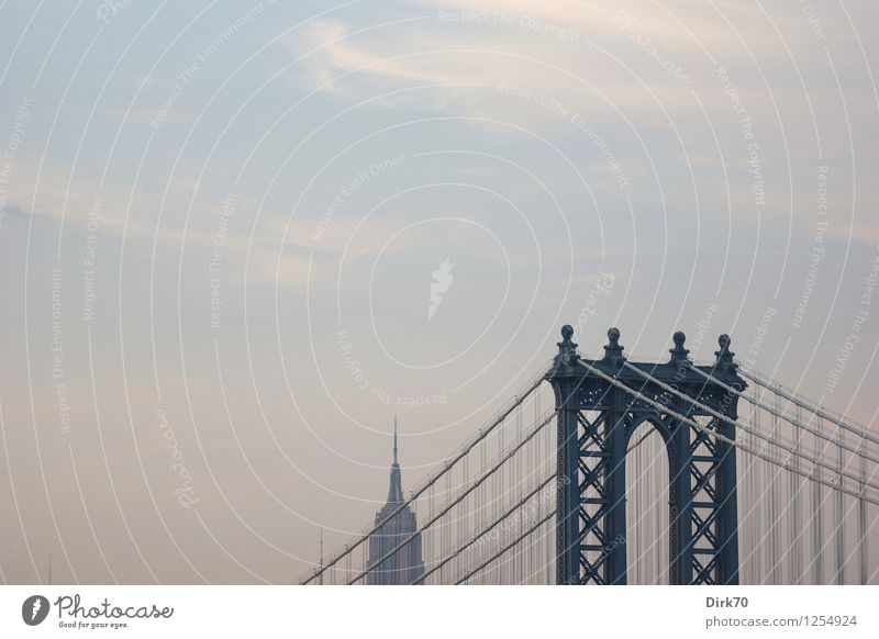 Manhattan Bridge mit Freiraum Ferien & Urlaub & Reisen Tourismus Sightseeing Städtereise Himmel Wolken Sommer Schönes Wetter New York City USA Skyline