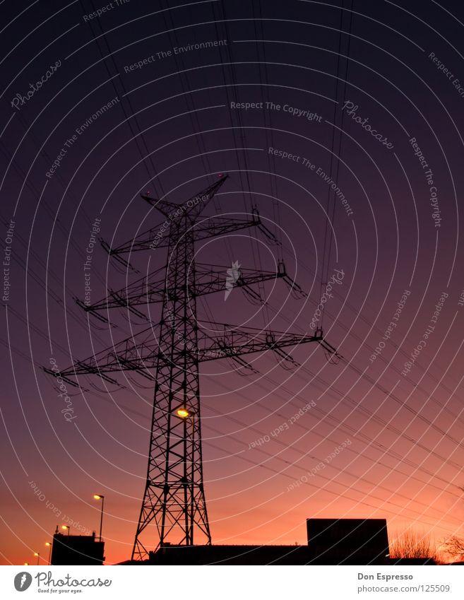 Sonntag Abend Sonnenuntergang Wolken rot Licht Strommast Physik violett Stimmung Himmel Lampe orange Linie Kabel Wärme Schönes Wetter