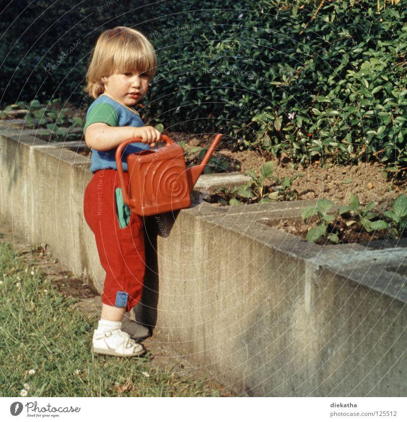 Fleißiges Lieschen Mensch Kind Mädchen Blume Sommer Arbeit & Erwerbstätigkeit Garten Mauer blond gießen früher Beet Dia Gärtner Kübel Achtziger Jahre