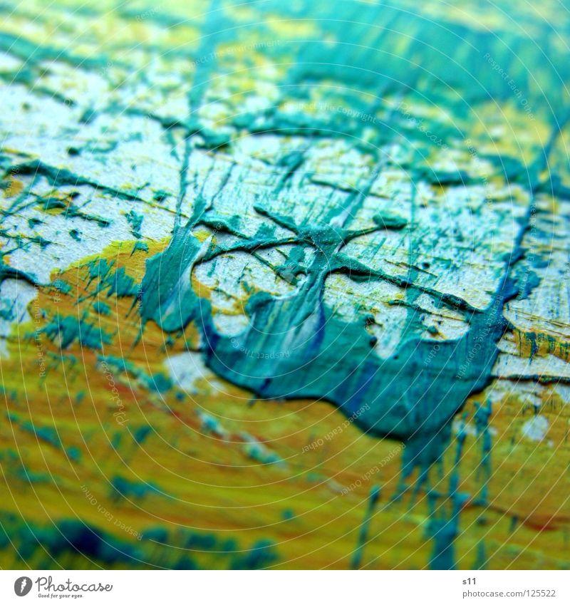 Farbspuren IV Pinselstrich Gemälde Kunst mehrfarbig gelb weiß Hintergrundbild zusätzlich Gegenteil Farbe Kunsthandwerk Makroaufnahme Nahaufnahme streichen