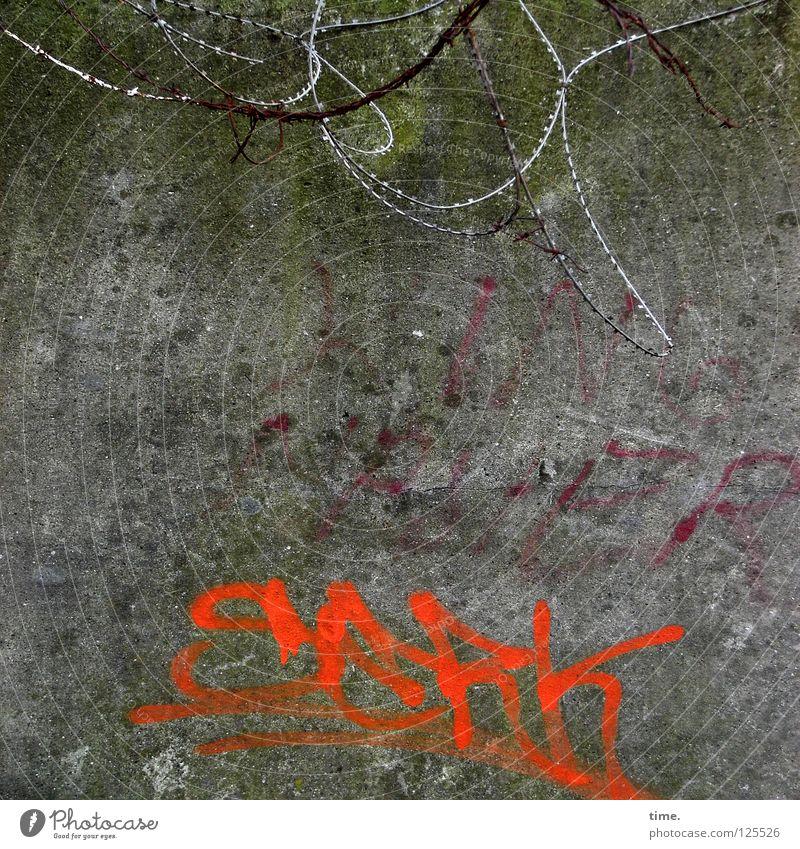 Millerntor Backstage (III) rot Wand Mauer Graffiti orange Beton Sicherheit Ecke rund Schutz Verkehrswege Zaun Schleife schwingen sinnlos erobern