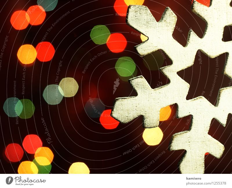 Holz Schneeflocke und Weihnachtsbeleuchtung. Design Glück schön Winter Dekoration & Verzierung Feste & Feiern Weihnachten & Advent Kunst Ornament glänzend hell