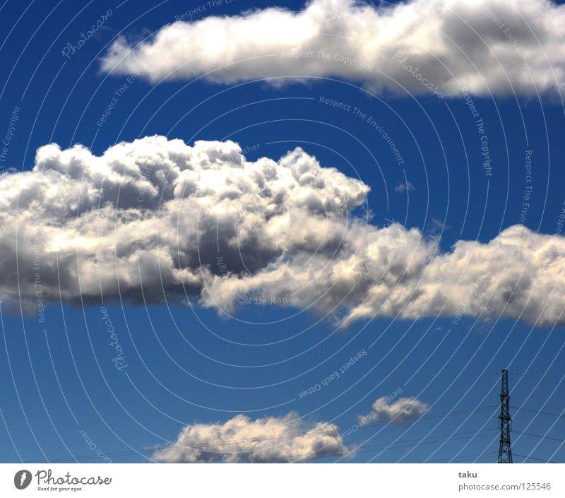 STROMMAST Himmel weiß blau Sommer Wolken Elektrizität weich Klarheit heiß Strommast Neuseeland