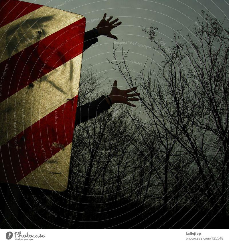 autoschreck Mensch Himmel Hand Freude schwarz gelb Wege & Pfade Lampe Kunst Arme Schilder & Markierungen Erfolg Suche Streifen Hinweisschild Ziel