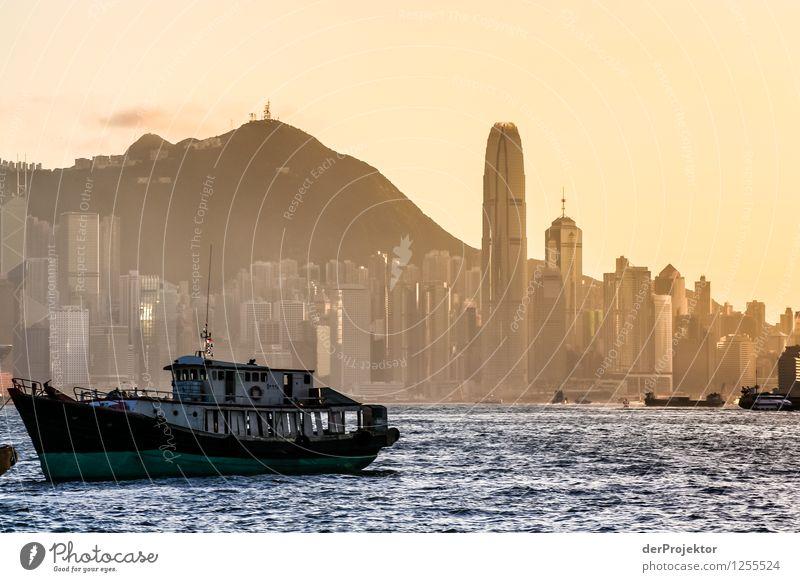 Sonnenuntergang in Hongkong mit Skyline II Umwelt Natur Landschaft Pflanze Sommer Berge u. Gebirge Wellen Küste Seeufer Flussufer Bucht Meer Hauptstadt