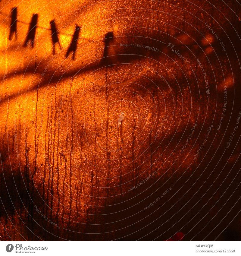 Auch in der Hölle gibt's nen Waschtag. II Wasser dunkel Spielen Fenster Regen hell orange Kunst Glas Brand nass Wassertropfen Seil Eisenbahn verrückt modern
