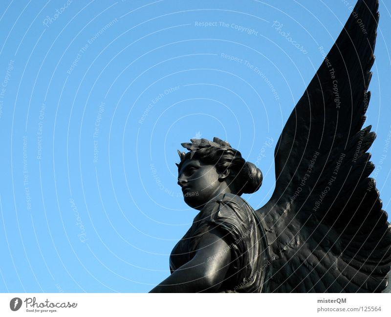 Engel für Charlie. Angelrute Skulptur gut Rom Erfolg vorwärts Kunst Kultur Schweben schwarz Flügel Bronze Lorbeer Frau Religion & Glaube Vertrauen zutraulich